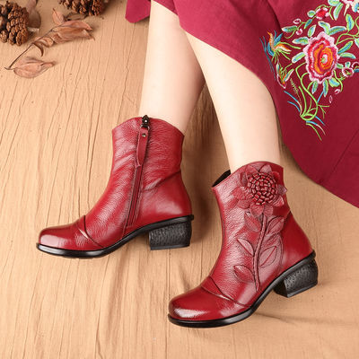 新款复古真皮马丁靴中跟短筒民族风短靴厚底粗跟加绒女士靴子棉靴