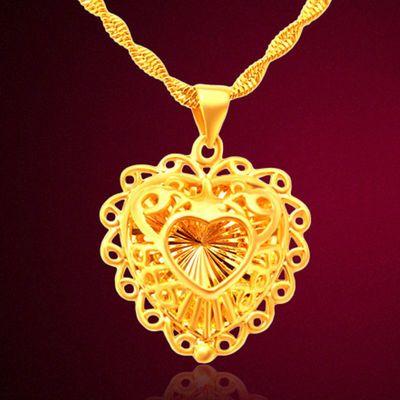 送戒指【钢印】久不掉色仿真越南沙金镀黄金项链吊坠女正版首饰品