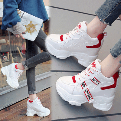 内增高女鞋网面运动2020春季新款网红ins百搭韩版休闲厚底老爹鞋