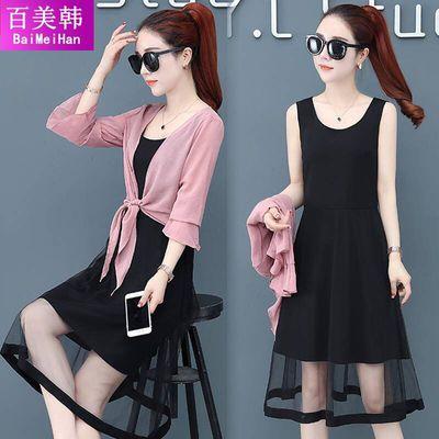 两件套雪纺连衣裙女2020春夏新款韩版显瘦套装裙七分袖上衣裙装