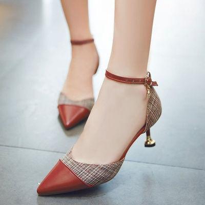 网红中跟细跟高跟鞋凉鞋女新款韩版尖头性感一字扣中空包头单鞋女