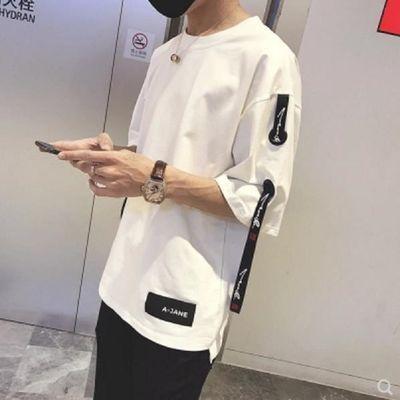 夏季短袖t恤男士七分袖2019新款衣服男学生半袖韩版宽松五分袖boy