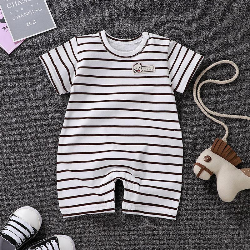 婴儿纯棉薄款短袖连体衣0-2岁男宝夏季爬服女宝哈衣3-6新生儿睡衣