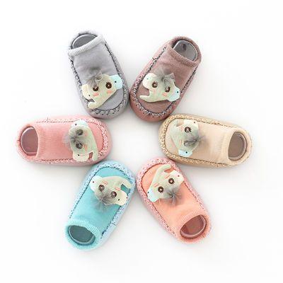婴儿鞋袜0-1-2岁宝宝夏季防滑地板鞋立体公仔带铃铛松口夏季袜套