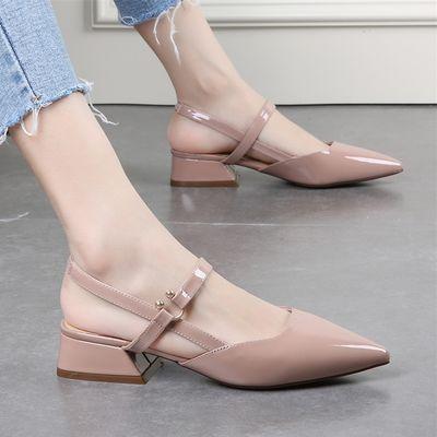 【亏本冲量】平底包头凉鞋女夏新款小清新尖头漆皮后空单鞋中跟鞋