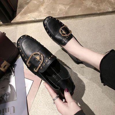 软皮软底两穿四季鞋黑色皮鞋女平底新款豆豆鞋女夏韩版秋鞋女单鞋
