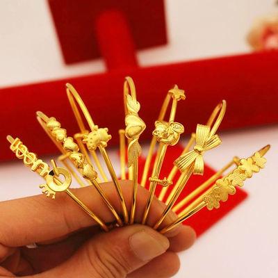 新品久不掉色镀黄金色 创意日韩手环个性简约沙金细手镯女首饰