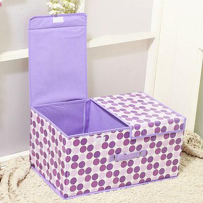 双盖双格衣服化妆品收纳箱可折叠桌面杂物储物箱内衣内裤袜收纳盒