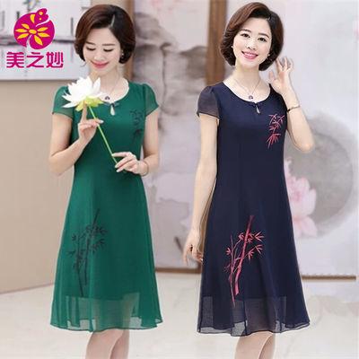 妈妈装夏装连衣裙短袖40岁50中老年人女装雪纺裙子中国风印花长裙