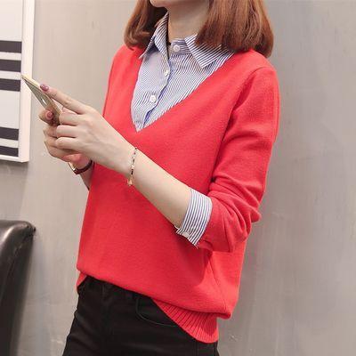 衬衫领毛衣女假两件套头春装2020新款女士韩版宽松打底针织衫长袖