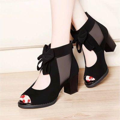 鱼嘴粗跟凉鞋女中跟罗马蝴蝶结黑色网纱高跟女凉鞋时尚低跟凉鞋女