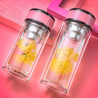 简约双层玻璃杯女士茶杯家用耐热加厚水杯学生可爱便携创意杯子