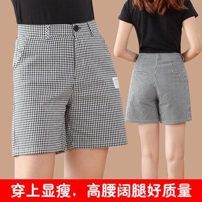 格子短裤女夏大码高腰阔腿裤显瘦宽松四分裤直筒休闲中裤女五分裤