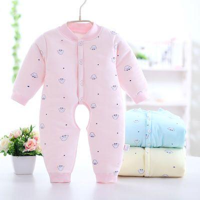 婴儿连体衣保暖加棉春秋冬季新生儿加厚棉衣服男女童宝宝哈衣爬服