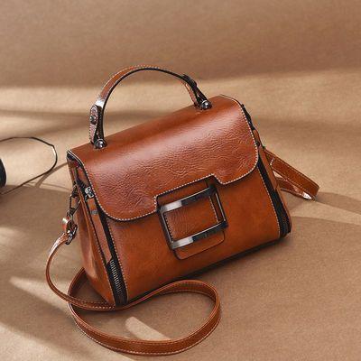 【BAGSLOVE】真皮质感女包斜挎小方包手提单肩复古新款韩版包包