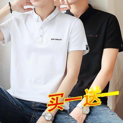 短袖男士t恤夏季新款棉polo衫韩版衬衫领纯色宽松休闲学生衣服