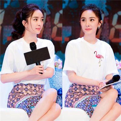 【90%纯棉好质量】2019夏新款韩版明星杨幂同款白色t恤女短袖宽松
