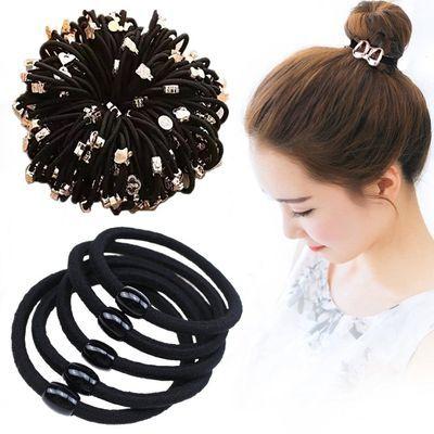 【10-400根】黑色高弹力韩版发圈头绳女橡皮筋皮套加粗小饰品发饰