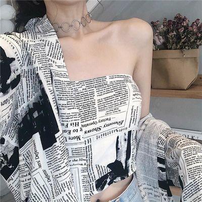 韩版衬衫女两件套2019秋季新款Chic复古宽松报纸印花长袖抹胸上衣