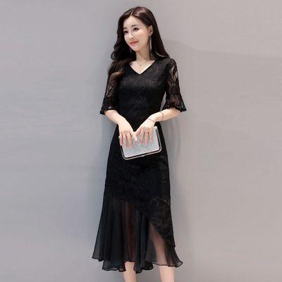 丝柏舍2019流行女装新款韩版中长款蕾丝港味连衣裙夏潮X134