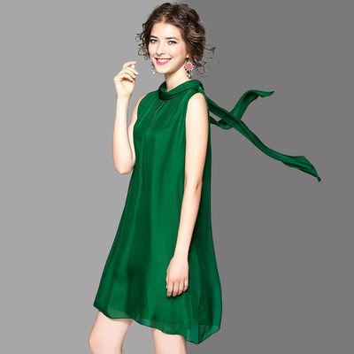 夏季真丝连衣裙大码女装胖妹妹裙子小个子新款欧美桑蚕丝背心裙子