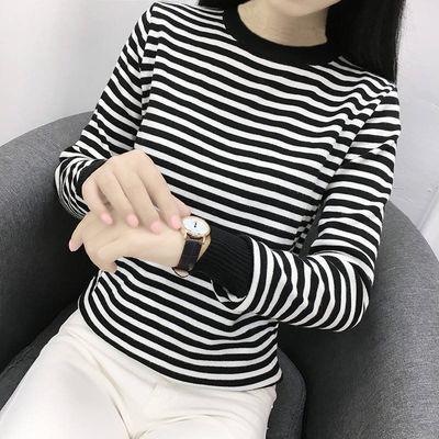 长袖短袖T恤女春夏季女士黑白条纹上衣女学生韩版打底衫女