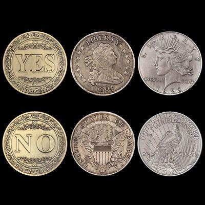 美国仿古拉丝青铜立体浮雕 YES or NO 决策币 幸运许愿硬币