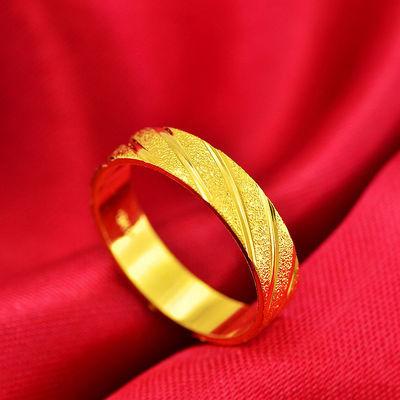 日韩个性简约镀金越南沙金戒指斜纹情侣金戒指欧币时尚对戒指环