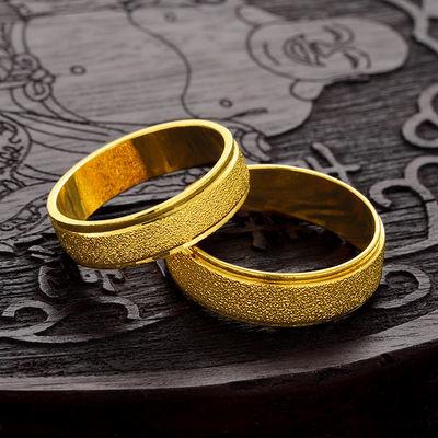 久不掉色个性简约镀黄金戒指情侣时尚饰品潮男戒指越南沙金指环