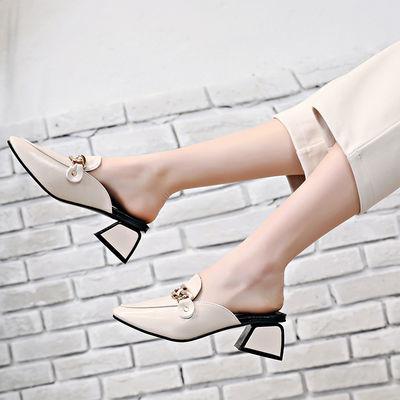 包头半拖女夏新款方头粗跟穆勒鞋中跟英伦风懒人凉拖高跟后空拖鞋