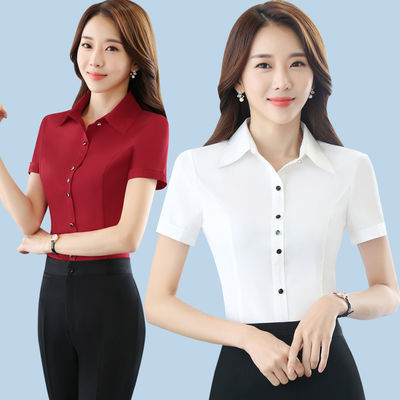 职业短袖衬衫女夏装ol通勤修身2020新款工作服防走光黑色雪纺衬衣
