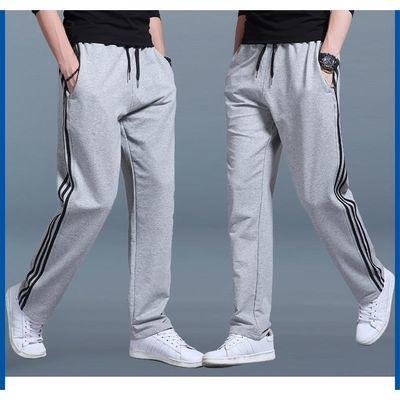 三条杠运动裤男春秋长裤直筒休闲裤宽松卫裤加肥加大码胖子跑步裤