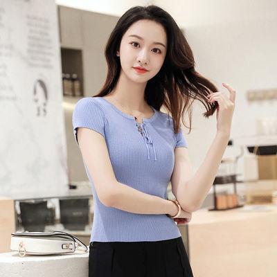 2020新款秋季韩版修身短袖时尚绑带气质复古短款上衣针织衫女秋装