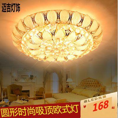 欧式圆形水晶灯金色LED吸顶灯客厅大灯时尚卧室灯1.2米工程灯具