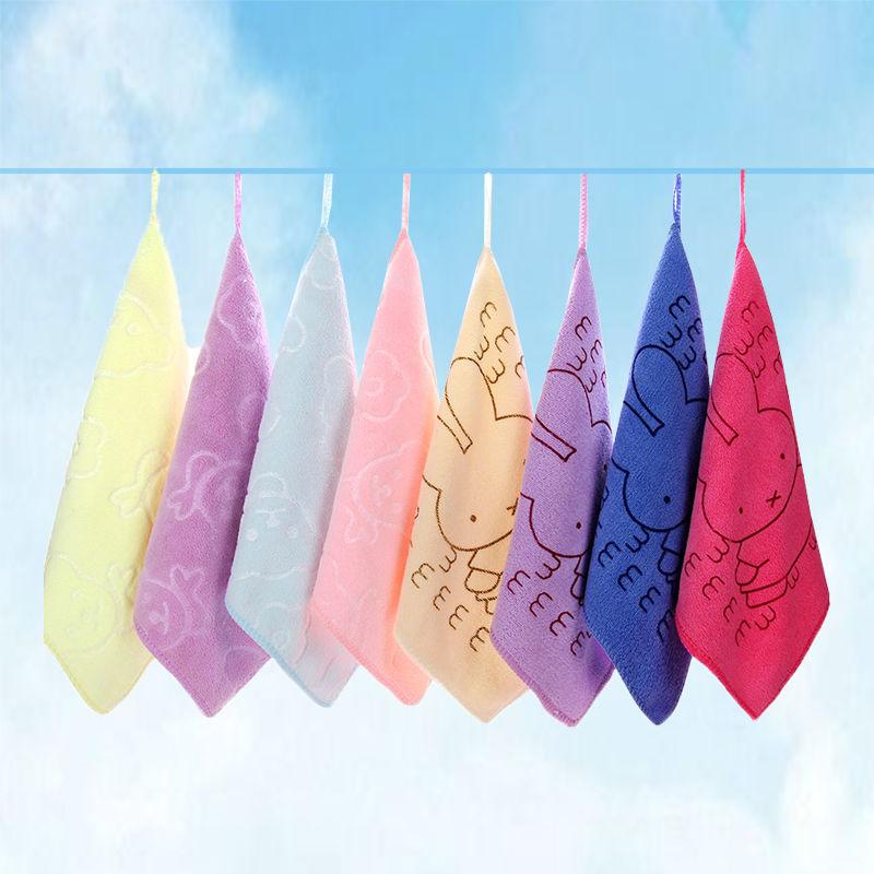 儿童宝宝小毛巾批发比纯棉吸水柔软幼儿园挂式方巾新生婴儿擦手巾
