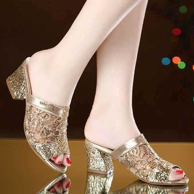 新品网砂鱼嘴粗跟中跟凉拖鞋时尚美女显气质凉鞋亮色夏季百搭拖鞋