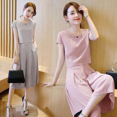 2020韩版阔腿裤长裤短袖T恤套装女夏季两件套新款时尚潮裙裤