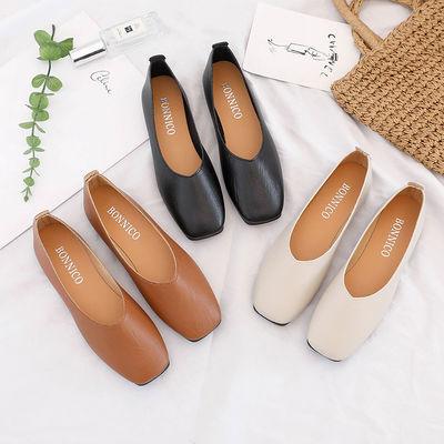 2020韩版秋季新款复古奶奶鞋浅口百搭平底单鞋女鞋方头平跟豆豆鞋