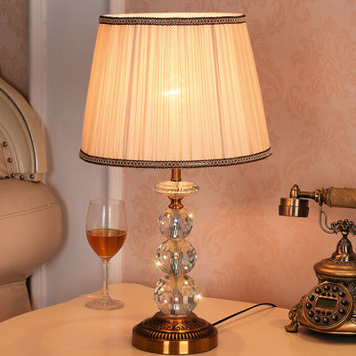 欧式台灯卧室床头灯现代简约客厅美式仿古铜K9水晶遥控触摸可调光
