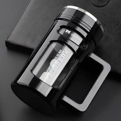 高档大容量玻璃杯便商务杯耐热防摔带把手办公杯男女茶杯双层杯子