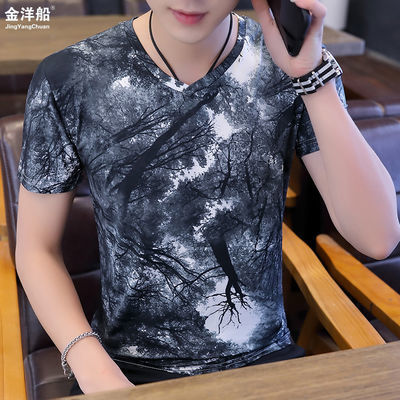 【金洋船】男士冰丝短袖修身t恤桖韩版青年夏季上衣体恤V领衣服