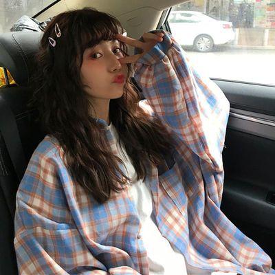 春季新款格子衬衫女学生韩版宽松中长款休闲百搭灯笼袖上衣外套潮