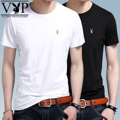 2件装 花花公子贵宾品牌95棉圆V领短袖T恤男款夏季男士纯棉修身衫