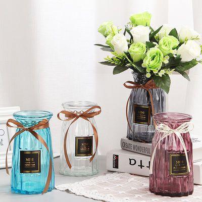 花瓶玻璃花瓶摆件干花仿真花绿萝富贵竹插花瓶透明彩色客厅