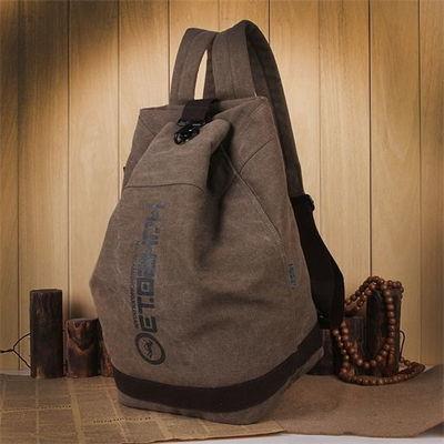 满江红双肩包韩版男士学生书包帆布水桶包休闲旅行背包大容量包