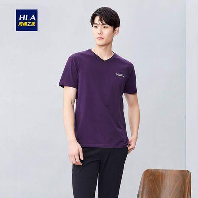 HLA/海澜之家V领短袖T恤2019夏季新品舒适平纹个性字母短t男