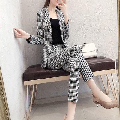 【送吊带】时尚职业格子西装套装女气质长袖工装西服裤子两件套潮