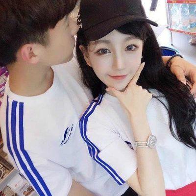 新款夏季情侣装短袖T恤韩版学生白色刺绣休闲运动男女ins2019班服