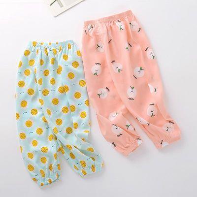 儿童夏季防蚊裤灯笼裤女童男童宽松空调裤子沙长裤绵绸薄款