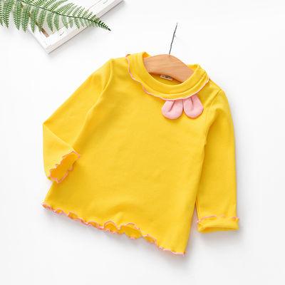 女童t恤长袖2019新款韩版洋气春秋纯棉上衣长款儿童春装打底衫